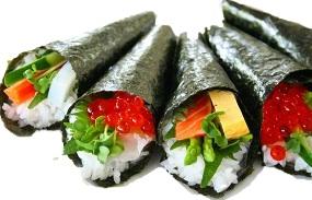 Hand rolled sushi (手巻き寿司)